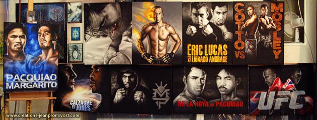 On voit ici 9 des 14 peintures de boxeurs réalisées au airbrush pour le club de boxe de l'est à Montréal.