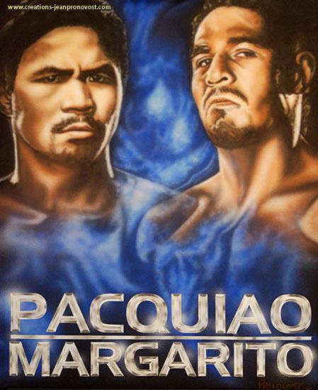 Pacquiao et Margarito sont ici peint au airbrush. On peut remarquer le lettrage chromé très bien exécuté à l'aérographe et aussi l'expression tendu de leurs visages.