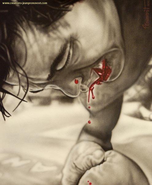 On voit sur cette peinture au airbrush, un moment de défaite qui laissera une belle cicatrice aux lèvres de ce boxeur.