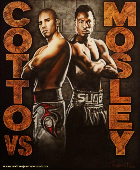 Voici Coto et Mosley peint au airbrush sur une toile.