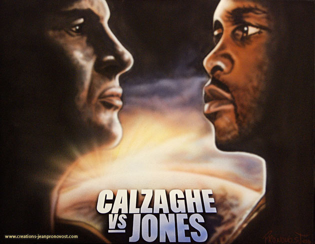 Calzaghe and Jones are painted by airbrush as titans fighting over the reigns of the world