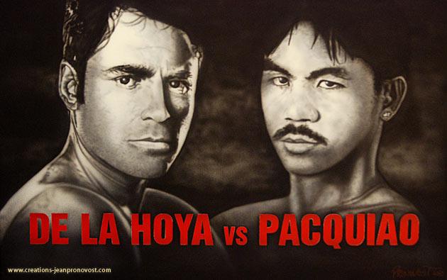 Boxer airbrush portrait De La HOYA vs PacquiaoSur cette peinture de boxeur réalisée au airbrush on peut remarquer De La Hoya et Pacquiao, qui se sont affronté en 2008. Les portraits réalisés à l'aérographie sont une spécialité des Créations Jean Pronovost.