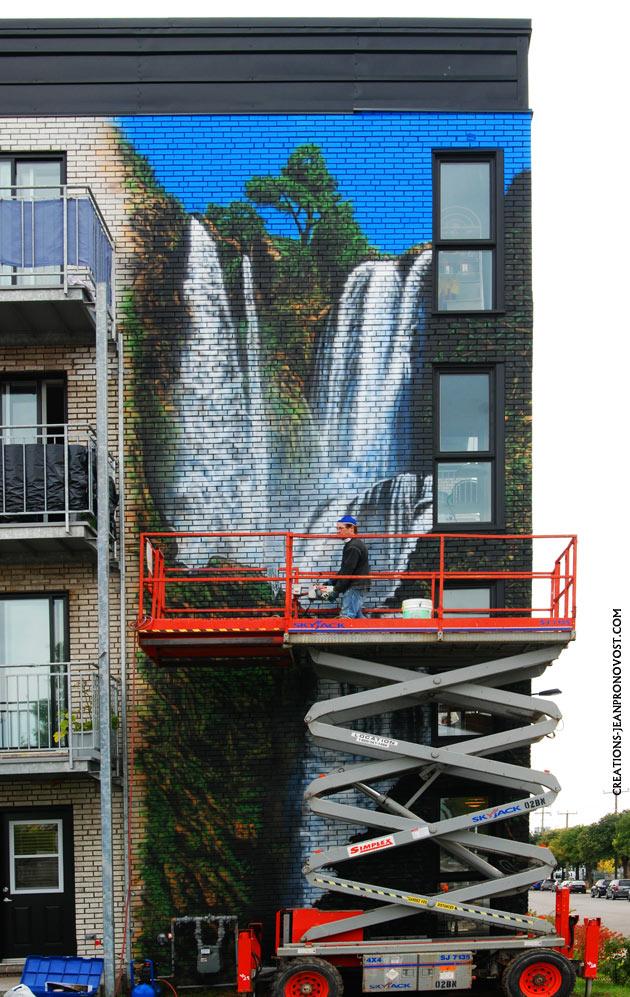 murale exterieur au airbrush, murale exterieur peinte, murale d'enfant, murale airbrush quebec, murale airbrush montreal