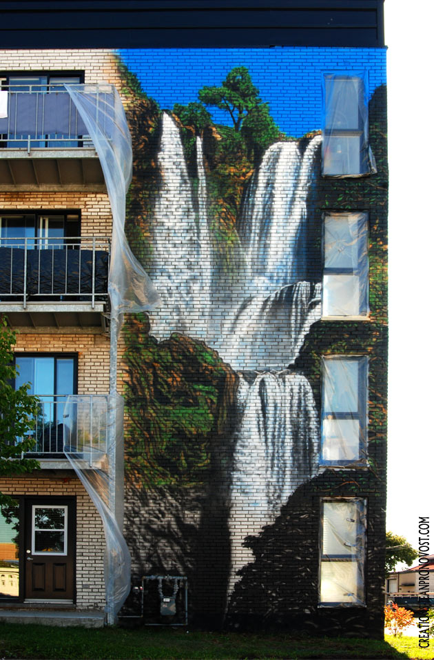 Exterior Wall Airbush Mural With Waterfall