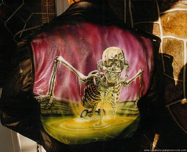 Manteau de cuir Megadeth réalisé au airbrush