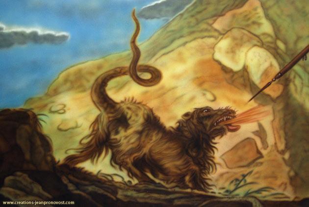 Chimère peinte au airbrush, détail de la murale mythologique