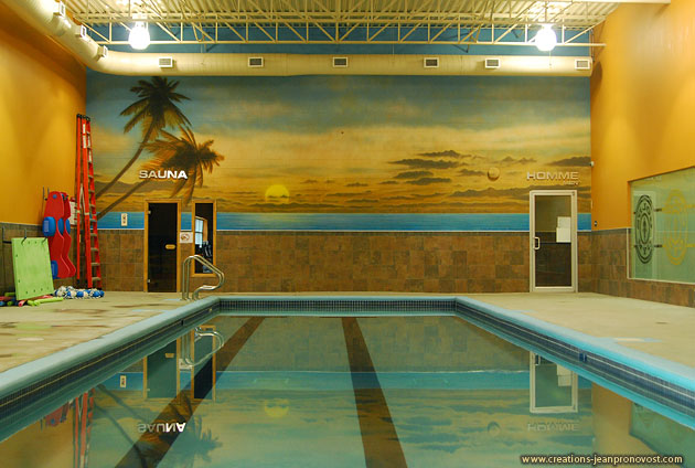 Airbrush mural swimming pool