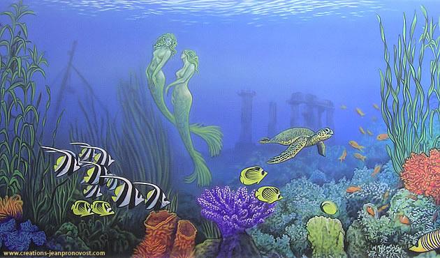 Murale fond marin réalisé au airbrush