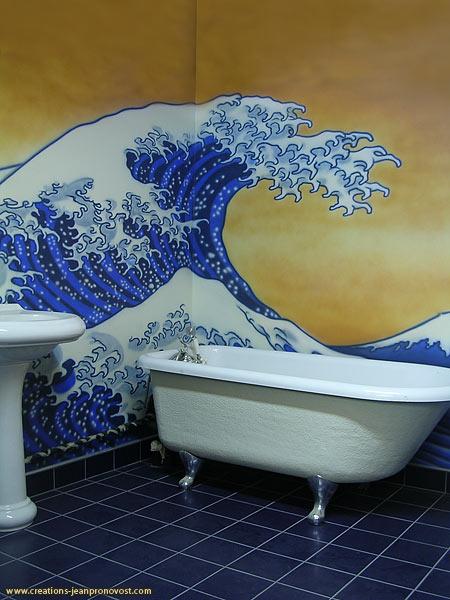 Murale chambre de bain réalisé au airbrush