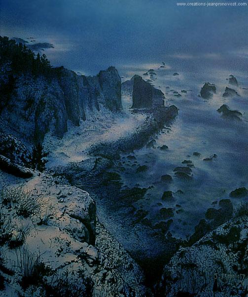 Paysage hivernal peint au airbrush (aérographe)