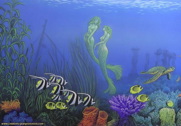 Sirènes et fond marin peint au airbrush