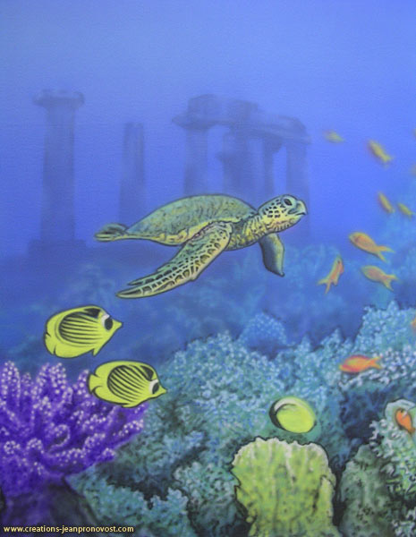 Airbrush mural with sea turtle