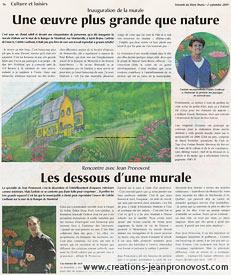Article sur la murale extérieure réalisée par Jean Pronovost : Cliquez sur l'image pour pouvoir lire l'article