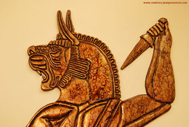 Babylonian inspired low relief sculpture. Art inspired by ancient civilization