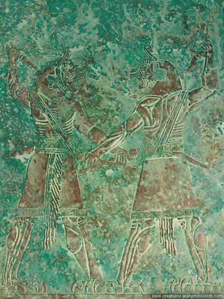 Babylonian mythology inspired bas relief with oxidised copper faux  finish