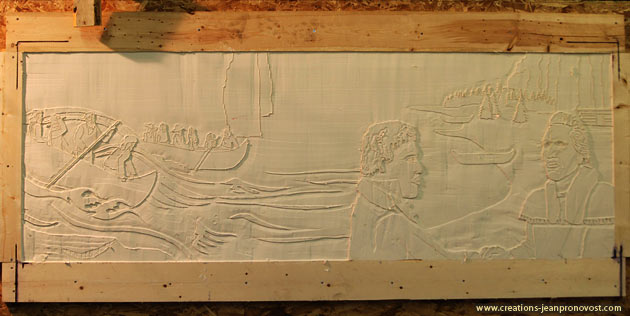 Sculpture bas-relief en production