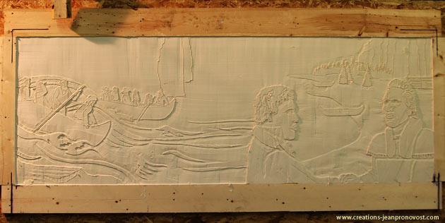 Sculpture bas-relief en production