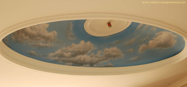 Mural on a ceiling - Airbrush sky and cloud - Mural Montreal, Quebec, Canada