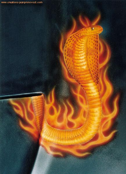 Cobra en feu peint au airbrush sur hood Rammer