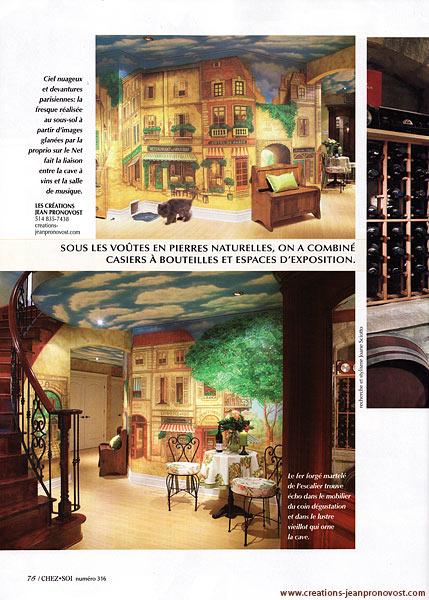 fresque murale d'inspiration parisiennes dans le magazine Décoration Chez-Soi