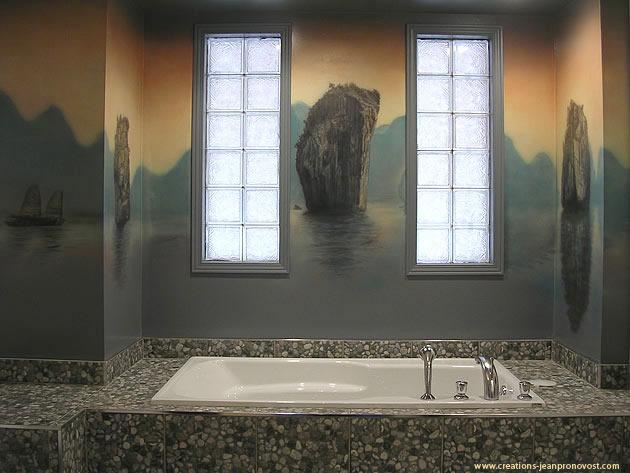 Murale de chambre de bain très Zen
