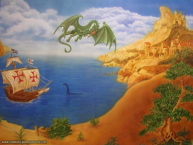 Murale pour chambre d'enfant avec avec un dragon