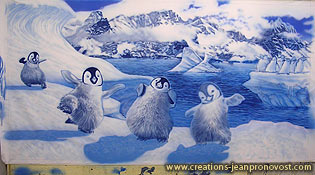 étape de la production de murale réalisé au airbrush