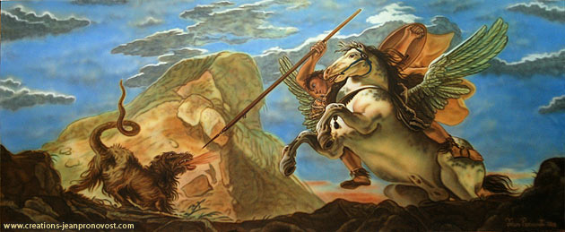 Bellérophon, murale peinte au airbrush peinte par l'artiste Jean Pronovost