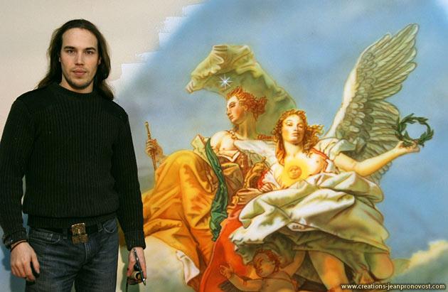 L'artiste peintre montréalais Jean Pronovost devant la murale reproduction La Noblessse et la Vertu de Tiepolo