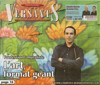 L'artiste Jean Pronovost devant la murale extérieur en couverture de l'hebdomadaire Les Versants de St-Bruno
