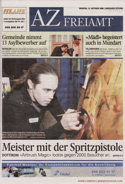 Jean Pronovost sur la couverture d'un journal  Suisse - Peinture   en direct au airbrush à l'événement Airbrush Magic 2008