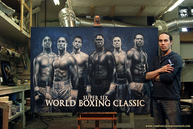 The Montreal airbrush artist Jean Pronovost in front of the boxing champions' mural.