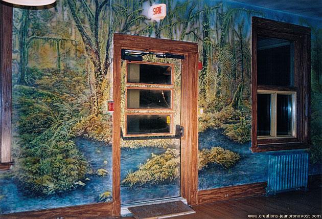 Murale peintre au airbrush représentant une rivière