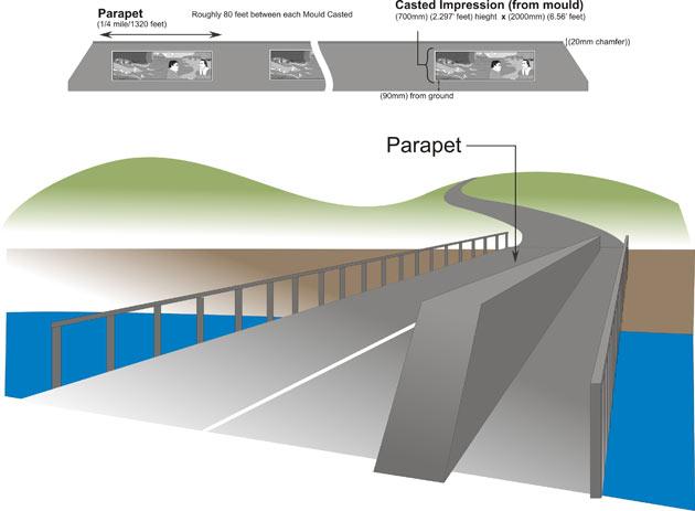 Plan du pont Fraiser avec bas-relief