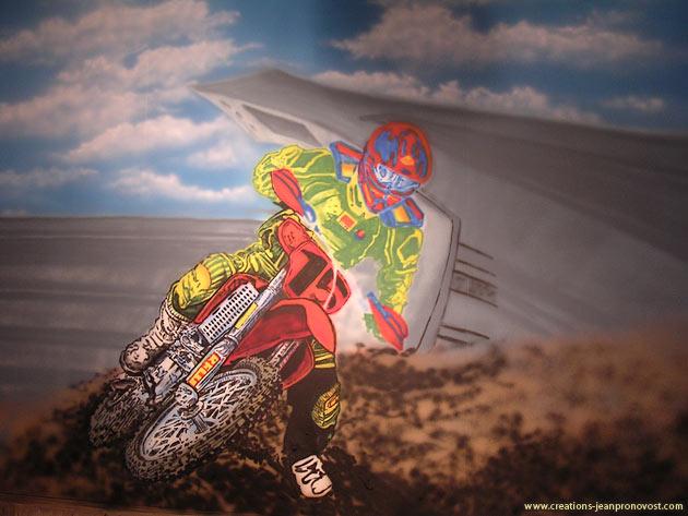 Motocross airbrush mural work in progress