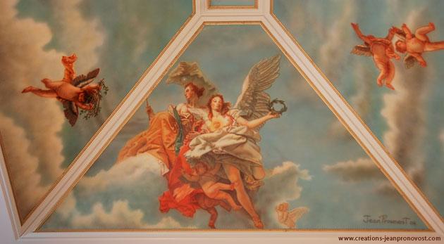 Détail de la murale de « La noblesse et la vertu » exécutée au airbrush