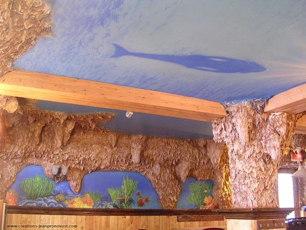 Plafond avec sirène peint au airbrush (aérographe)