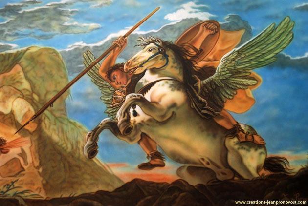 Bellérophon chevauche pégase, détail d'une murale peinte au airbrush