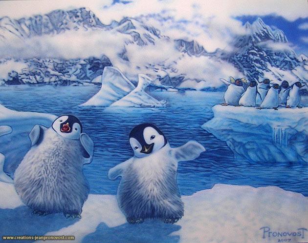 Murale pingouin peinte au airbrush pour une chambre d'enfant