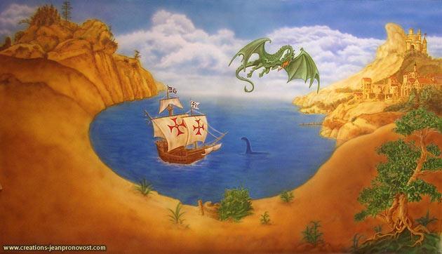 Murales dragon pour une chambre d'enfant