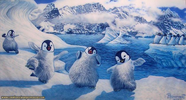 Murale pour chambre d'enfant avec pingouins