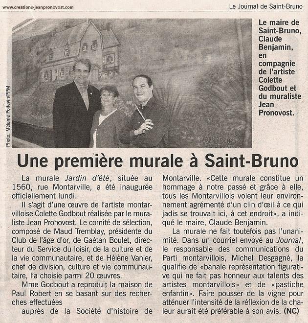 Article sur la murale extérieure réalisé par l'artiste peintre muraliste Jean Pronovost