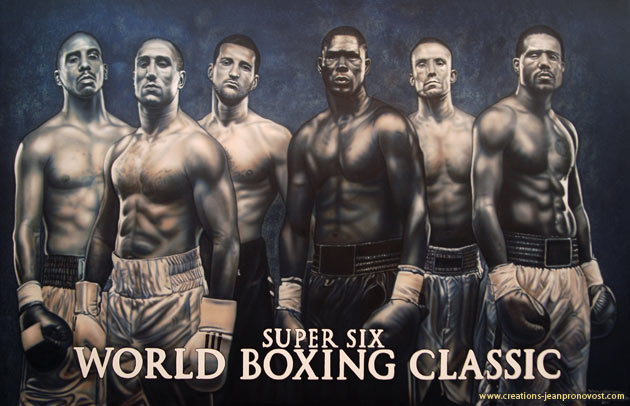Airbrush painted mural - World boxing classic - painted by Montreal artist Jean Pronovost