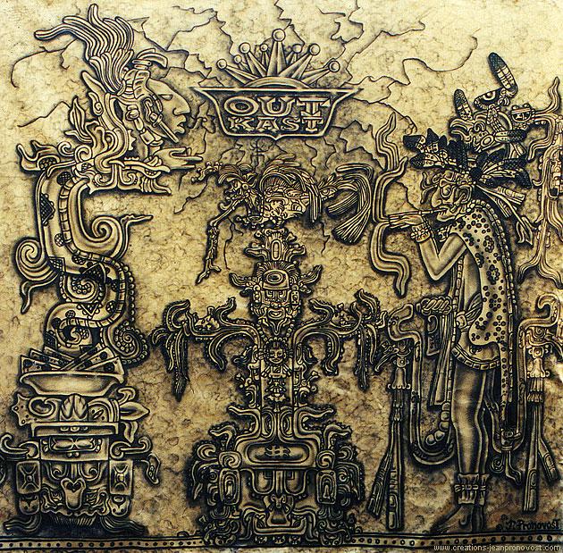 Murale Outkast de style maya peinte au airbrush