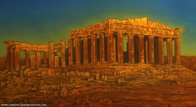 Murale Parthénon peinte au airbrush
