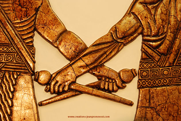 Detail from an ancient art low relief sculpture reproduction by Montreal painter and sculptor artist Jean Pronovost