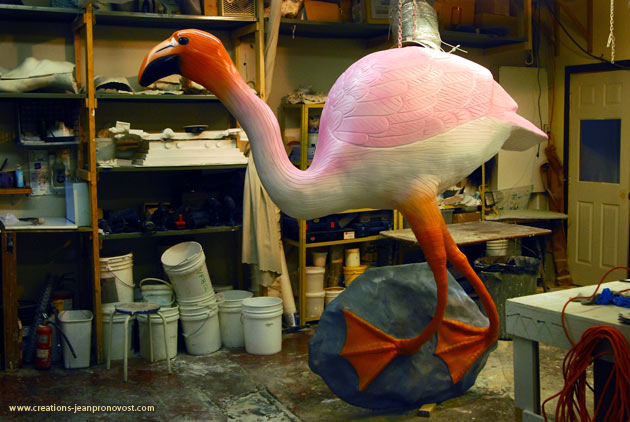 Monumental pink flamingo sculpture made in Montreal
