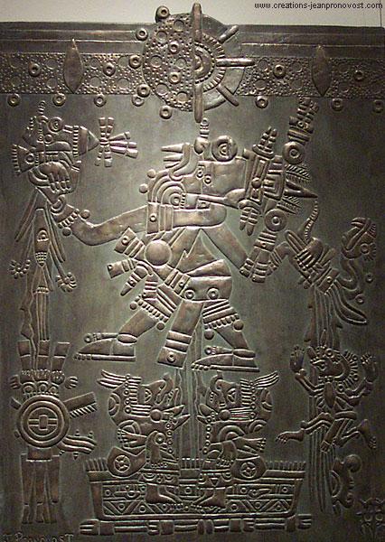 Tlaloc, bas-relief Aztèque, faux fini de bronze