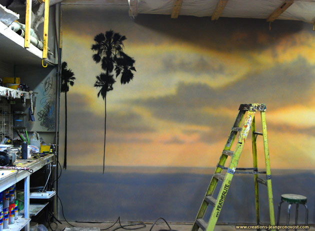 Work in progress of airbrush mural in Montreal Quebec Canada