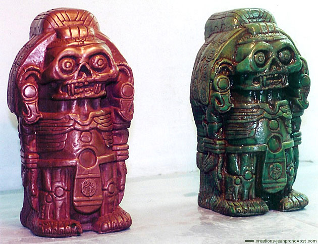 faux-finishes on Aztec Xolotl statues